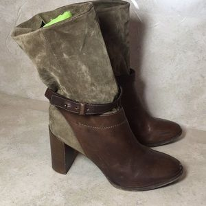 VINCE heeled boots olive green brown 110